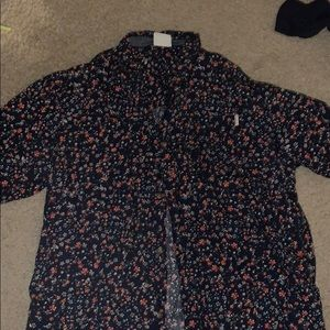 Button up floral shirt with a pocket